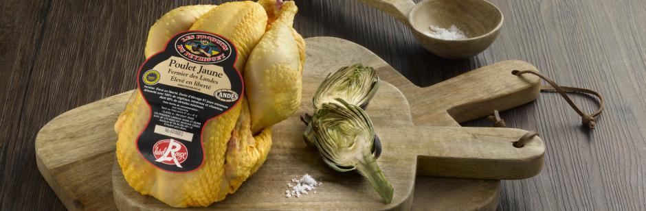 """Poulet fermier Landes - Ce poulet fermier vie en liberté dans les bois de Gascogne, le """"LABEL ROUGE """" vous garantit la qualité mais aussi le respect de l'environnement et le bien-être animal."""